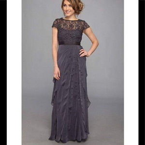 Adrianna Papell Lace Bodice Flutter Skirt Gown 14